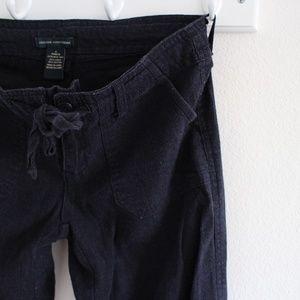 Navy Blue Linen Straight Leg Trouser Pants